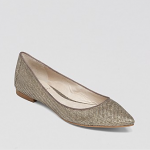 Vince Camuto Gold Silver Pointed Toe Flats - Hasse Metallic