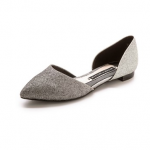 Alice and Olivia Silver Hilary Glitter d'Orsay Flats