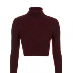 Topshop Burgundy Dark Red ROLL NECK CROP SWEATER
