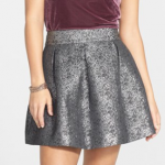 Nordstrom Frenchi Silver Metallic Crinkle Skirt (Juniors)