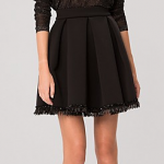 Maje JALOUSE BLACK BEADED CREPE GORED SKIRT