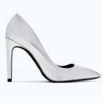 Zara Laminated Silver high heel court shoe