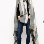 asos grey and black ASOS Cape With Scarf In Oversized Check