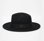 ASOS Black Felt Fedora Hat With Wide Band and Stitch Edge