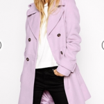 ASOS Purple Coat with Belt And Flared Hem in Brushed Finish