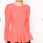 Asos Ted Baker Coral Ribbed Sweater with Peplum