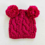 Urban Outfitters Animal Ears Cable-Knit Pink Beanie