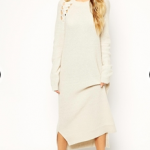 ASOS Cream Midi Sweater Dress With Cut Out Cable Detail