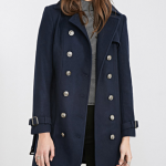 Forever21 Navy Belted Trench Overcoat