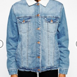 Asos Blue ASOS Denim Jacket in Mid Wash with Fleece Lining and Collar