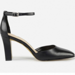 Charles Keith Black SQUARE-TOE ANKLE STRAP HEELS