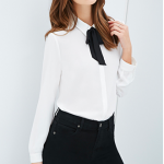 Forever21 Self-Tie Collared Blouse Black Cream