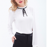 Forever 21 Pleated Bow-Front Blouse Cream Black