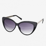 EXPRESS OVERSIZED CAT EYE METAL ARM SUNGLASSES Black