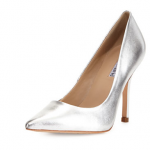 Neiman Marcus Last Call Charles David Swayy II Metallic Leather High Heel Pump Silver