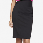 EXPRESS Black HIGH YOKE WAIST STUDIO STRETCH MIDI PENCIL SKIRT
