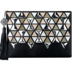 Neiman Marcus Rafe Celia Large Satin Triangle Clutch Bag Black