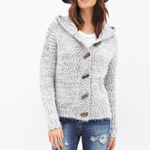 Forever 21 Ivory Grey Fuzzy Hooded Toggle Cardigan White Distressed Crew Neck Tee