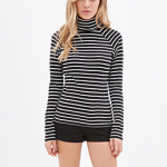 Forever 21 Black Cream Striped Turtleneck Top