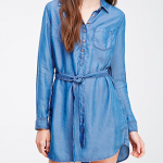 Forever 21 Denim Blue Self-Tie Denim Shirt Dress