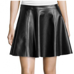Neiman Marcus Last Call Vakko Black Faux-Leather Circle Skirt