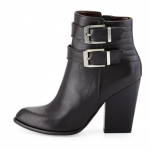 Neiman Marcus Last Call Report Signature Black Trever Buckled Bootie