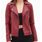 Forever 21 Burgundy Faux Leather Moto Jacket