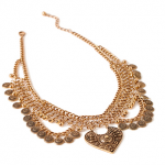 Forever 21 Gold Etched Coin Statement Necklace