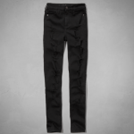 Abercrombie Destroyed Black A&F ALYSSA HIGH RISE SUPER SKINNY JEANS