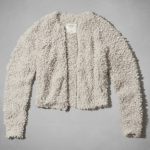 Abercrombie Oatmeal KAYLIN FUZZY BOMBER JACKET White PAISLEY OPEN SHOULDER PEASANT TOP