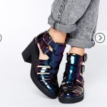 ASOS EXTRA TIME Gladiator Crepe Mix Ankle Boot Petrol Oil Slick