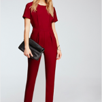 Forever21 Burgundy Short-Sleeved Crepe Jumpsuit