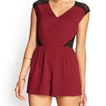 Forever 21 Burgundy Black Ornate Lace Romper