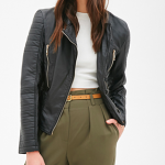 Forever 21 Black Quilted Faux Leather Bomber