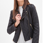 Forever 21 Black Quilted Faux Leather Jacket