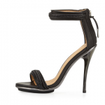 Neiman Marcus Last Call L.A.M.B. Braided Leather High-Heel Sandal Black