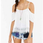 Urban Outfitters Ivory Kimchi Blue Crochet-Trim Cold Shoulder Top