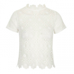 TopShop White HIGH NECK CROCHET TOP
