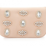 Neiman Marcus Badgley Mischka Angelina Satin Rhinestone Clutch Bag, Champagne