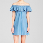 Alexa Chung for AG Dress - Honey Off the Shoulder Denim Ruffle