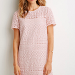 Forever 21 Blush Ornate Lace Shift Dress