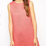 ASOS PETITE Exclusive Bonded Shift Dress in Pale Pink Lace