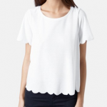 Topshop White Scallop Frill Tee