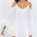 Urban Outfitters White Band Of Gypsies Bell-Sleeve Embroidered Cold-Shoulder Top