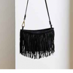 Urban Outfitters Black Ecote Crescent Fringe Bag