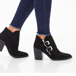 Forever 21 Black Buckled Faux Suede Booties