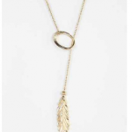 Urban Outfitters Gold Feather Lariat Necklace