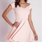 Missguided US PONTE BARDOT SKATER DRESS BLUSH