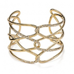 Bloomingdales Alexis Bittar Miss Havisham Scattered Pave Crystal Barbed Gold Cuff