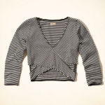 Hollister Striped Black and White Slim Crop Top